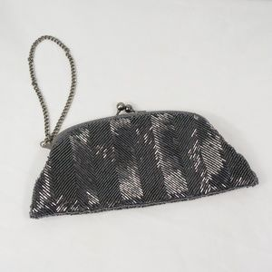 The Limited Silver Beaded Clutch Wristlet